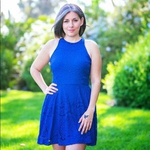 Mossimo Royal Blue Lace A-Line Dress